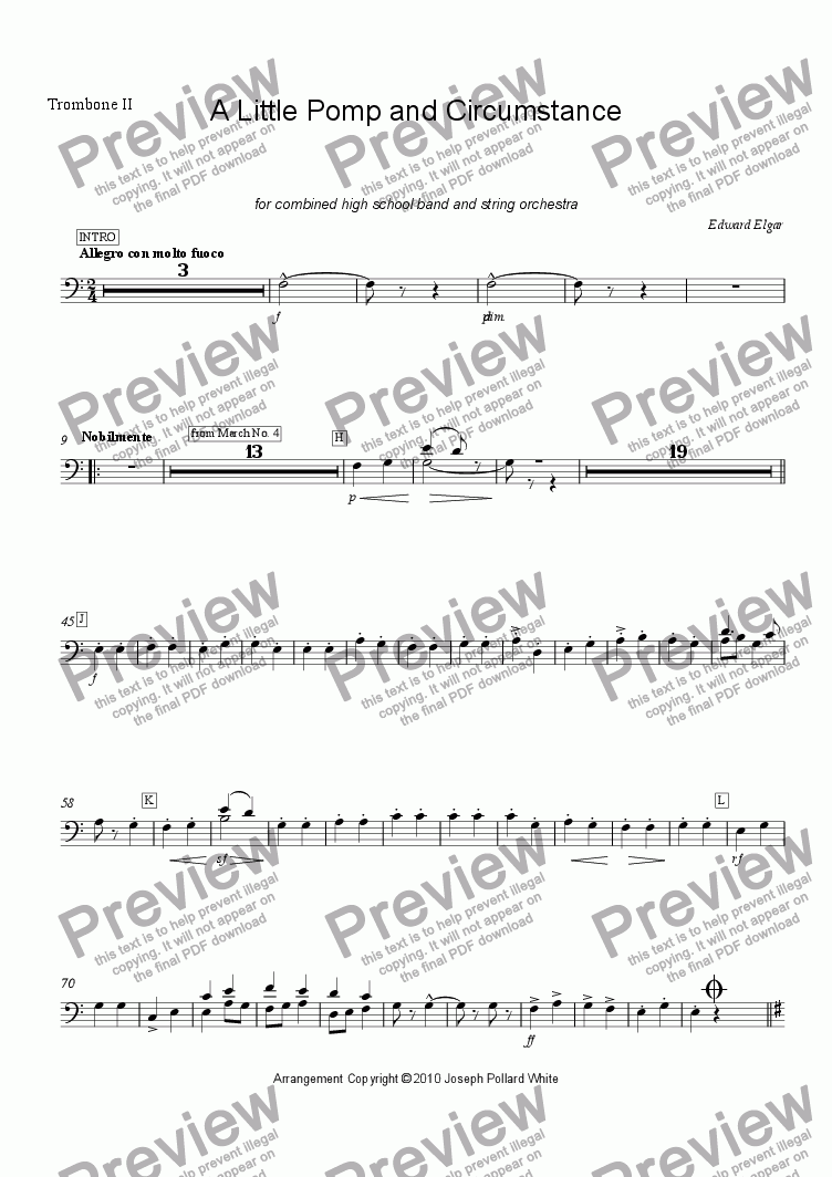 page one of the Trombone II part from A Little Pomp and Circumstance