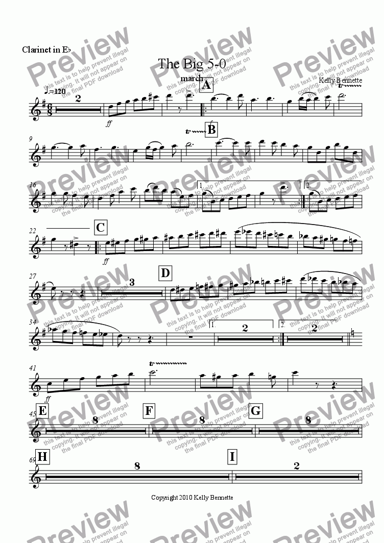 page one of the Clarinet in Eb part from The Big 5-0