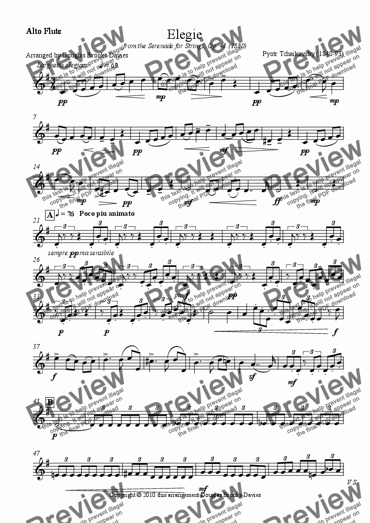 page one of the Alto Flute part from Tchaikovsky: Elegie from the Serenade for Strings (Op. 48) for Flute Choir (3fl, afl, bass fl)