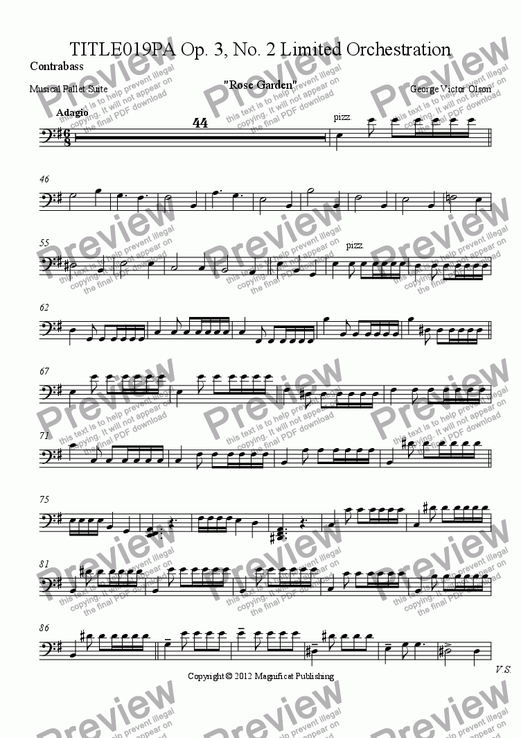 page one of the Contrabass part from TITLE019PA Op. 3, No. 2 Limited Orchestration