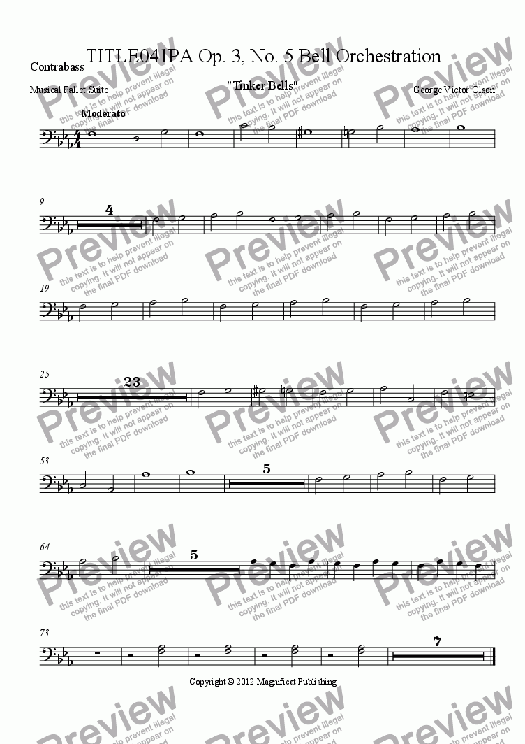 page one of the Contrabass part from TITLE041PA Op. 3, No. 5 Bell Orchestration