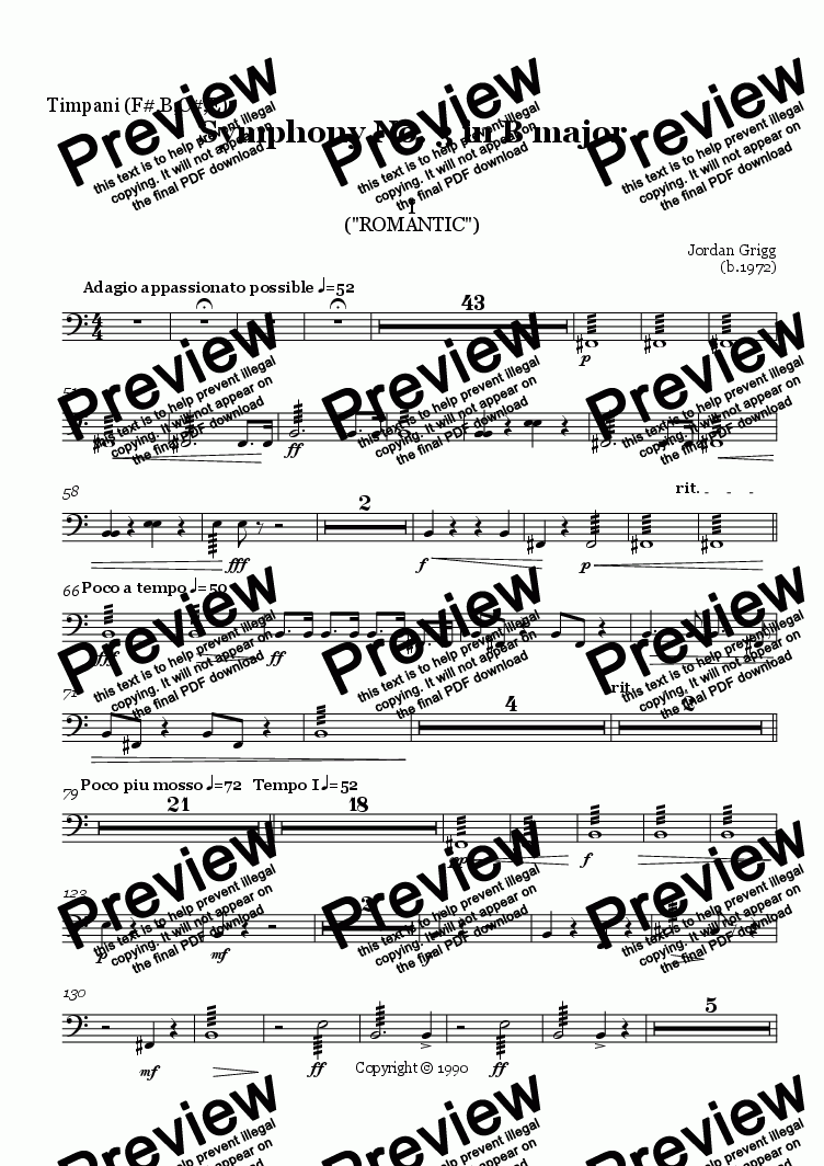 page one of the Timpani (F#,B,C#,E) part from Symphony No. 3 in B major