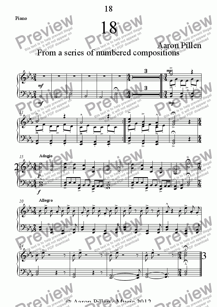 page one of the Piano part from 18