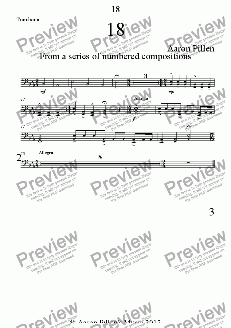 page one of the Trombone part from 18