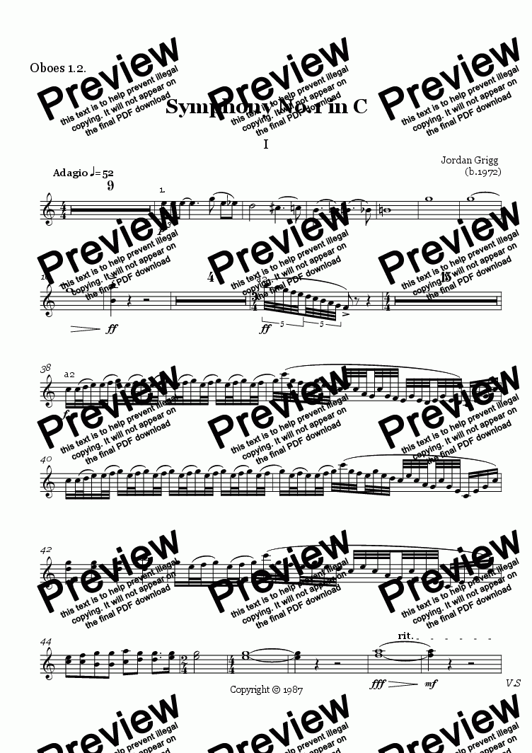 page one of the Oboes 1.2. part from Symphony No.1 in C