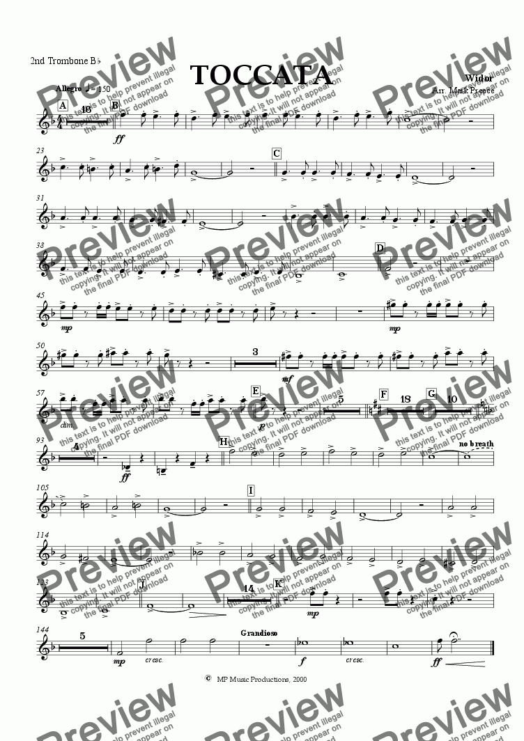 page one of the 2nd trombone part from Widor - Toccata (Brass Band)