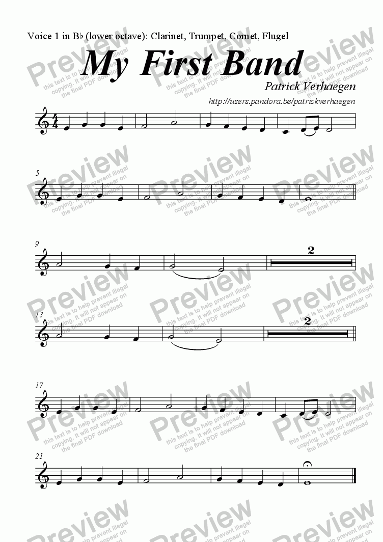 page one of the Voice 1 in Bb: Clarinet, Trumpet, Cornet, Flugel part from My First Band (for youth band)