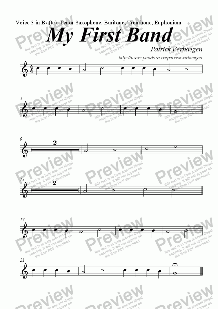 page one of the Voice 3 in Bb (tc): Tenor Saxophone, Baritone, Trombone, Euphonium part from My First Band (for youth band)