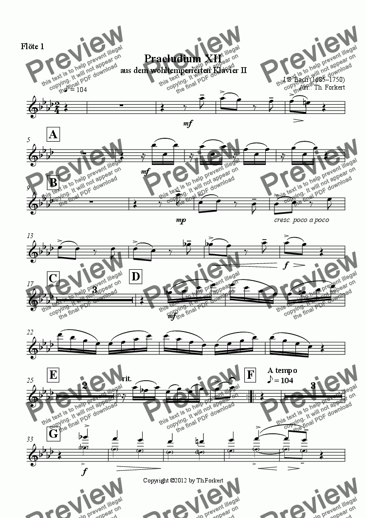 page one of the Flöte 1 part from Praeludium XII aus dem wohltemperierten Klavier II