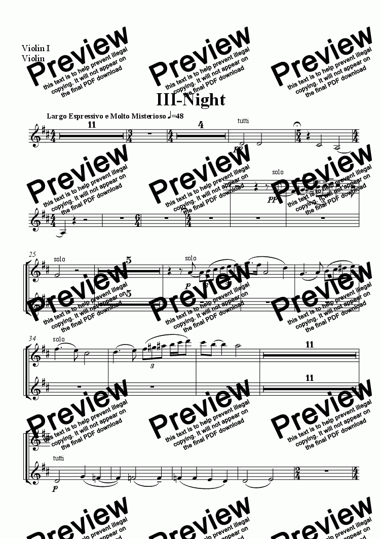 page one of the Violin I, Violin part from Three Pieces for Orchestra III-Night