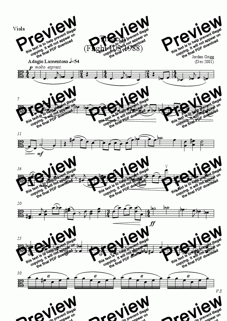page one of the Viola part from Tragedy (Flight 103 1988)