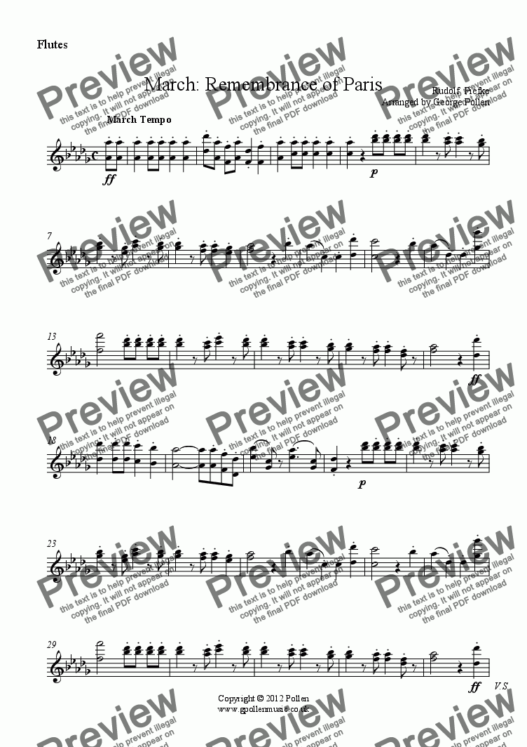 page one of the Flutes part from March: Remembrance of Paris (CB)