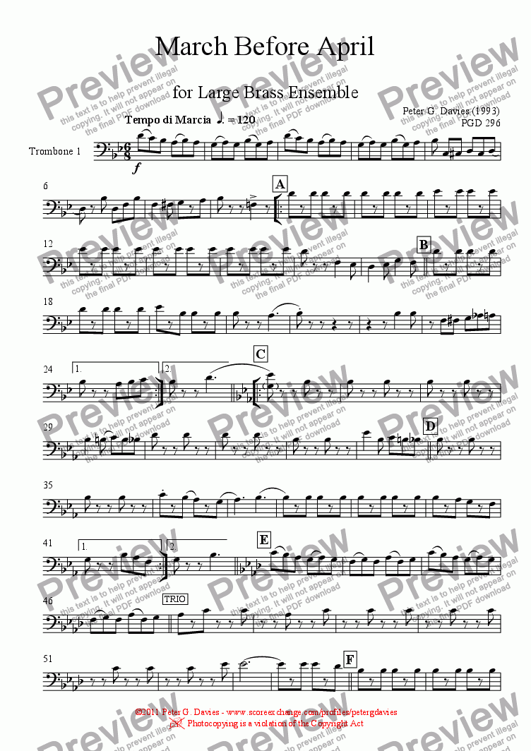 page one of the Trombone 1 part from March Before April for Large Brass Ensemble