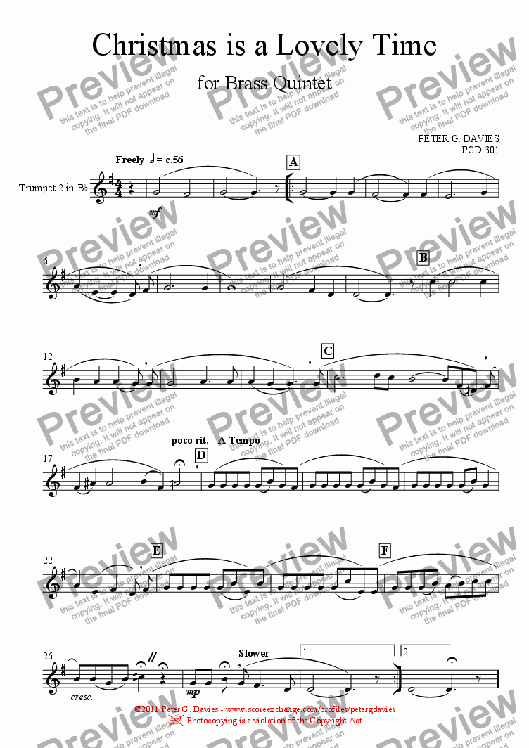 page one of the Trumpet 2 in B^b part from Christmas is a Lovely Time for Brass Quintet