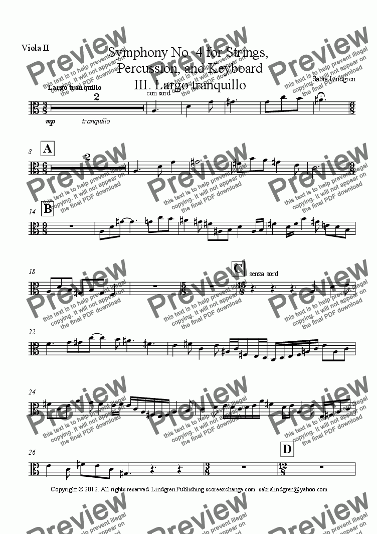 page one of the Viola II part from Symphony No. 4 for Strings,  Percussion, and Keyboard  III. Largo tranquillo