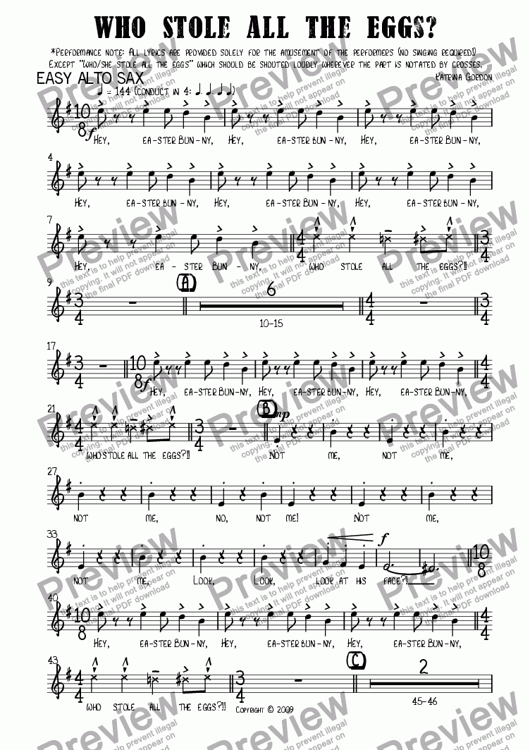 page one of the Easy Alto Sax part from Who Stole All the Eggs?