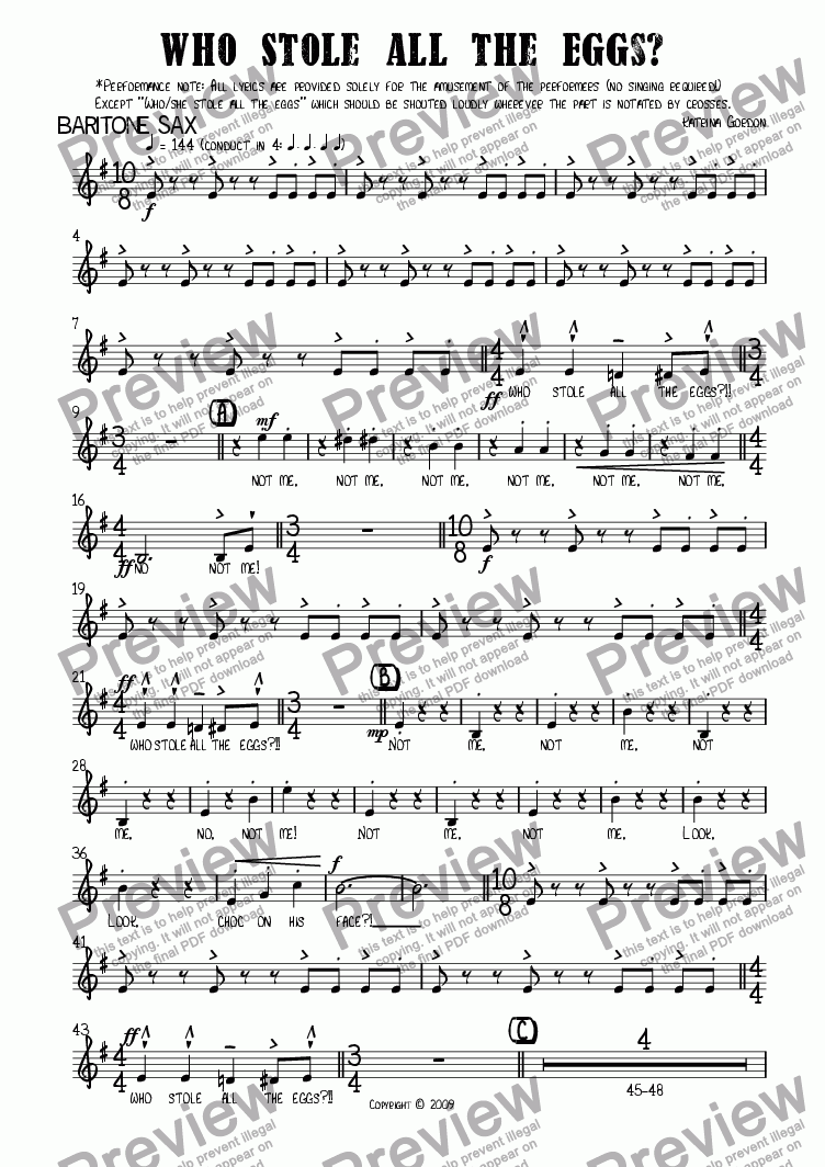 page one of the Baritone Sax part from Who Stole All the Eggs?