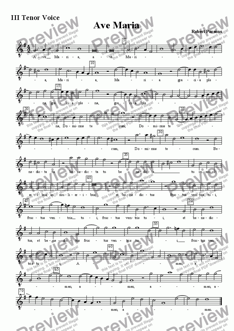 page one of the III tenor voice part from Ave Maria