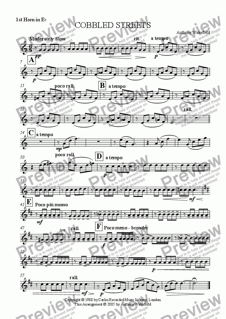 page one of the 1st Horn Eb part from Cobbled Streets
