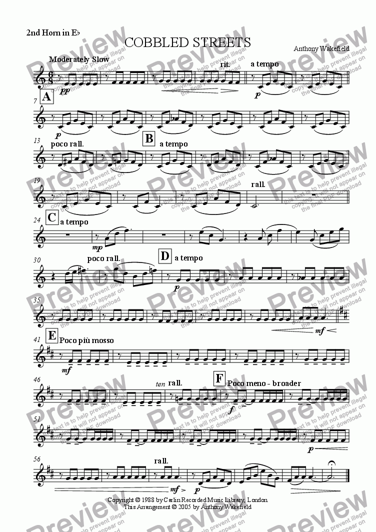page one of the 2nd Horn Eb part from Cobbled Streets