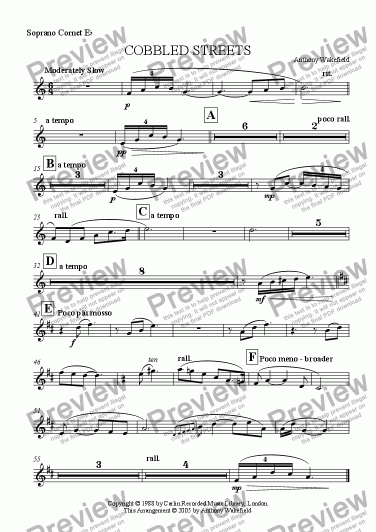 page one of the Soprano Cornet Eb part from Cobbled Streets