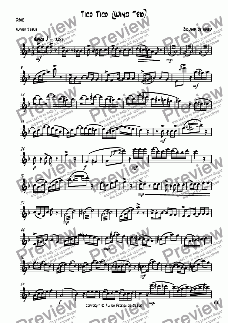 page one of the Oboe part from Tico Tico (Wind Trio)
