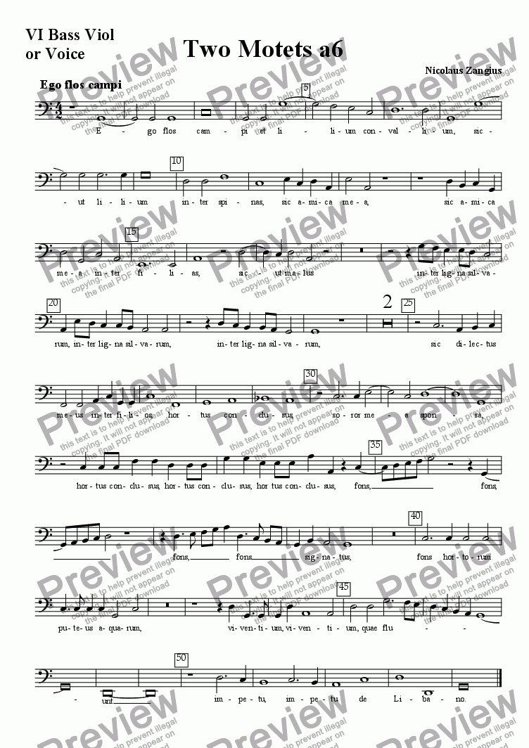page one of the VI bass viol or voice part from Two Six-part Motets