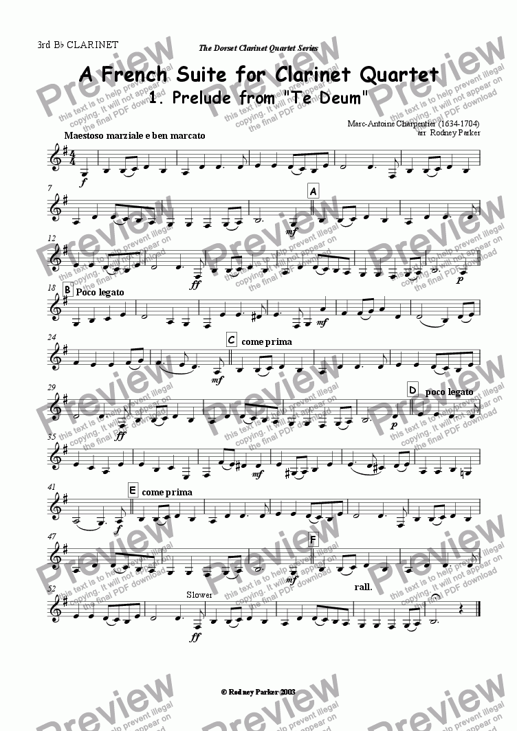 page one of the 3rd Bb Clarinet part from A French Suite for Clarinet Quartet