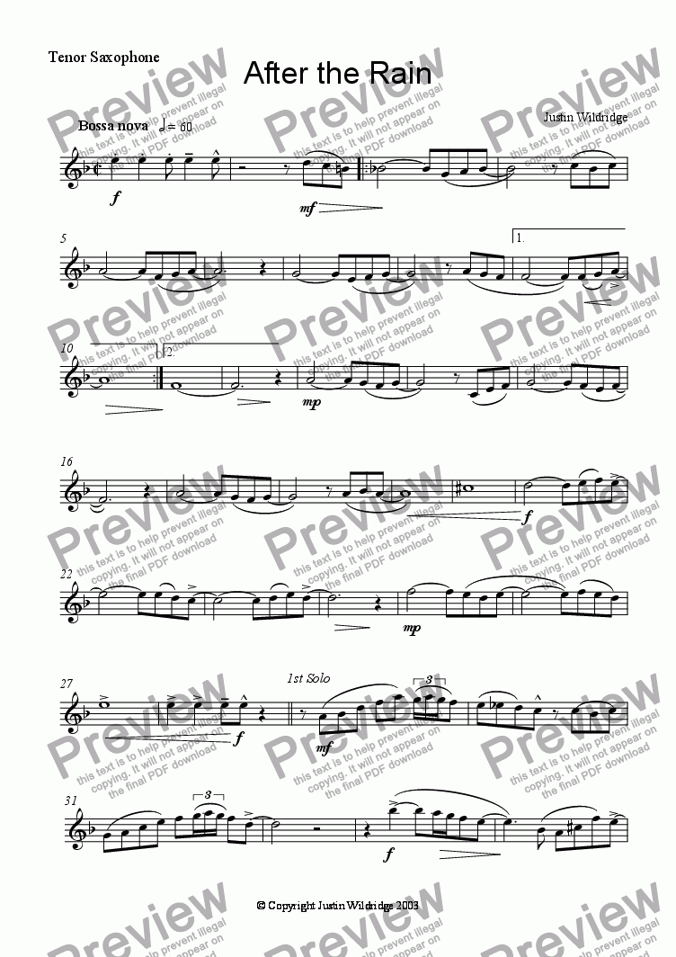 page one of the Tenor Saxpohone part from After the Rain