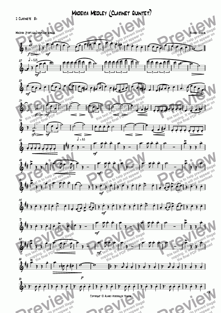 page one of the 2º Clarinete  B^b part from Madeira Medley (Clarinet Quintet)