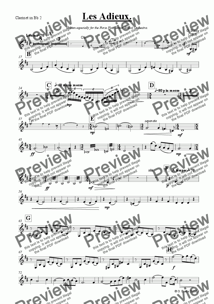 page one of the Clarinet Bb 2 part from Les Adieux