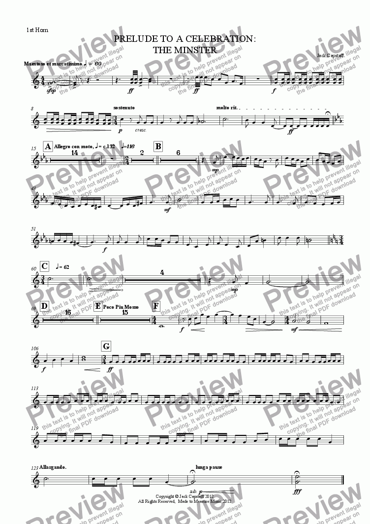 page one of the 1st Horn part from PRELUDE TO A CELEBRATION: THE MINSTER