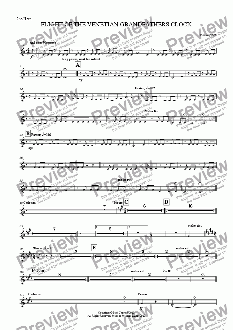 page one of the 2nd Horn part from FLIGHT OF THE VENETIAN GRANDFATHERS CLOCK