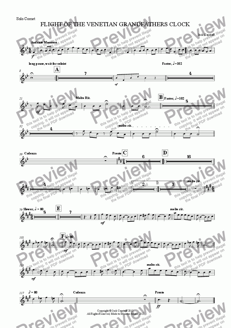 page one of the Solo Cornet part from FLIGHT OF THE VENETIAN GRANDFATHERS CLOCK