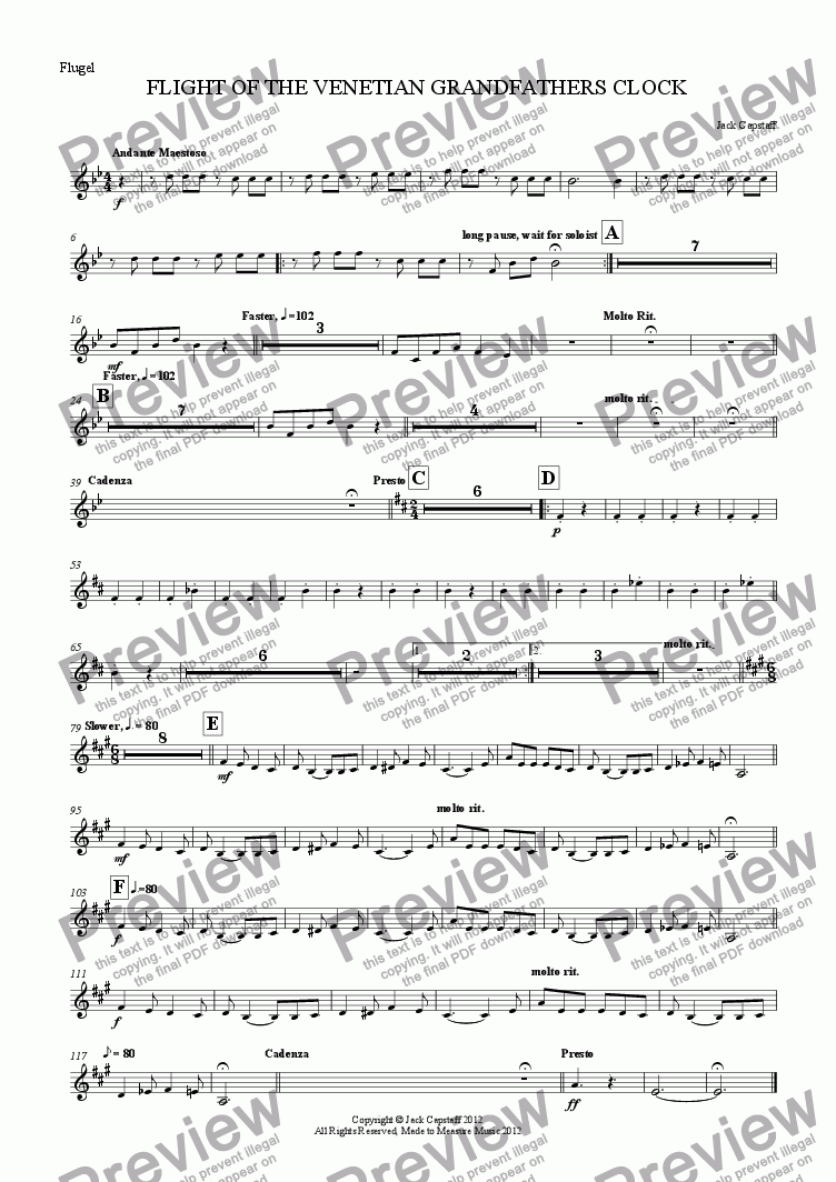page one of the Flugel part from FLIGHT OF THE VENETIAN GRANDFATHERS CLOCK