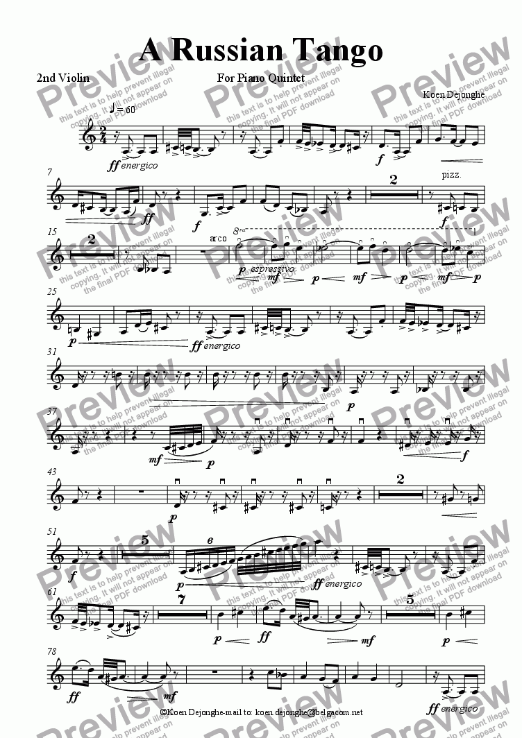 "page one of the 2nd Violin part from ""A Russian Tango For Piano Quintet"""