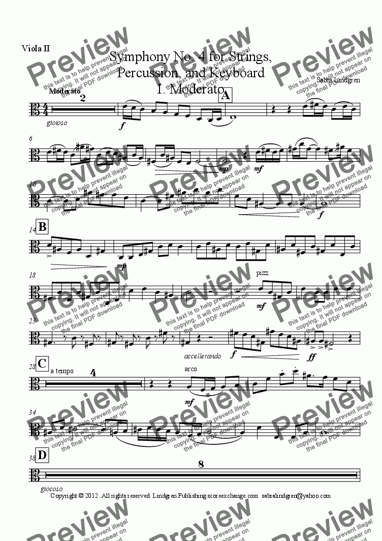 page one of the Viola II part from Symphony No. 4 for Strings, Percussion, and Keyboard I. Moderato