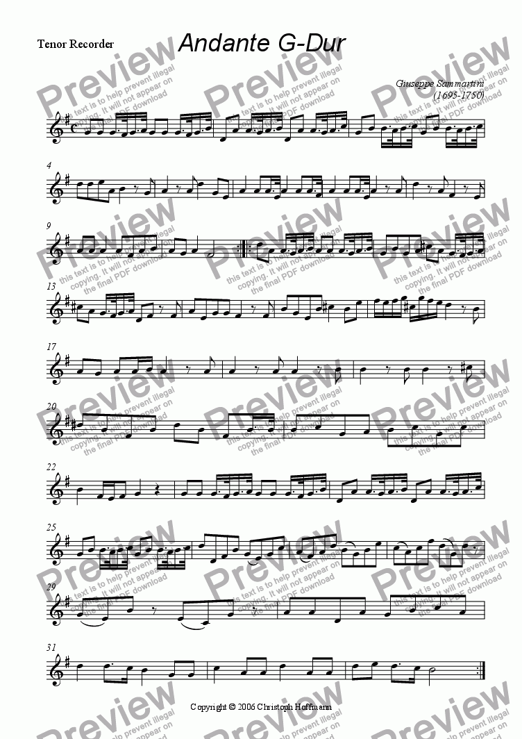 page one of the Tenor Recorder part from Andante for AATB-Recorders