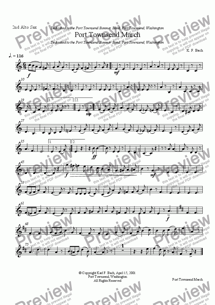 page one of the 2nd Alto Sax part from Port Townsend March