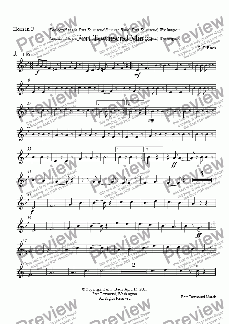page one of the Horn in F part from Port Townsend March