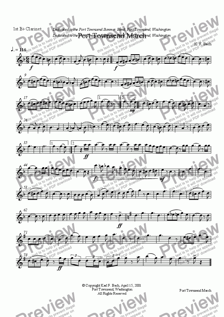 page one of the 1st B^b Clarinet part from Port Townsend March