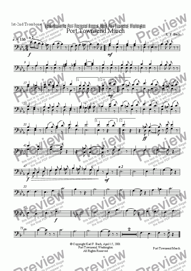 page one of the 1st-2nd Trombone part from Port Townsend March