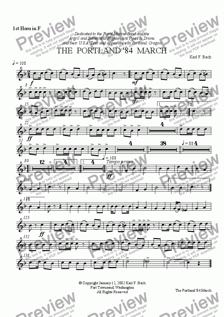 page one of the 1st Horn in F part from THE  PORTLAND '84  MARCH