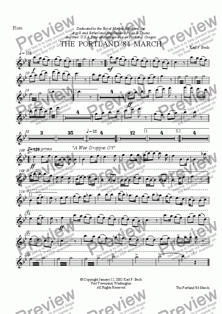 page one of the Flute part from THE  PORTLAND '84  MARCH
