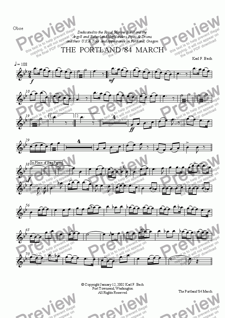 page one of the Oboe part from THE  PORTLAND '84  MARCH