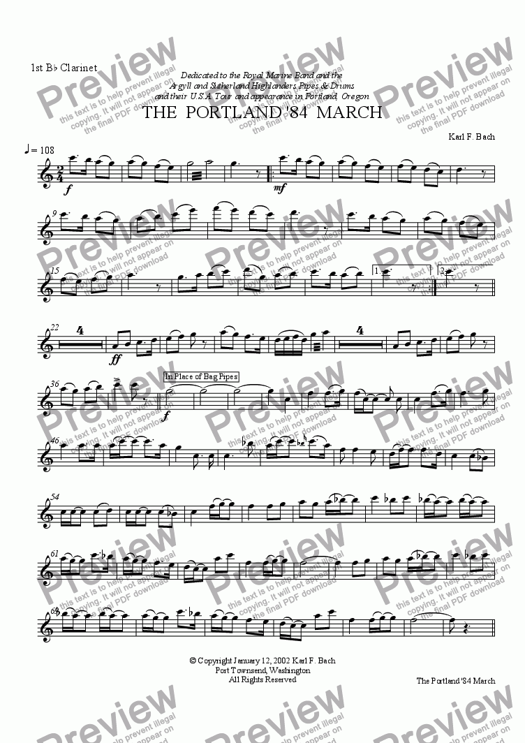 page one of the 1st B^b Clarinet part from THE  PORTLAND '84  MARCH