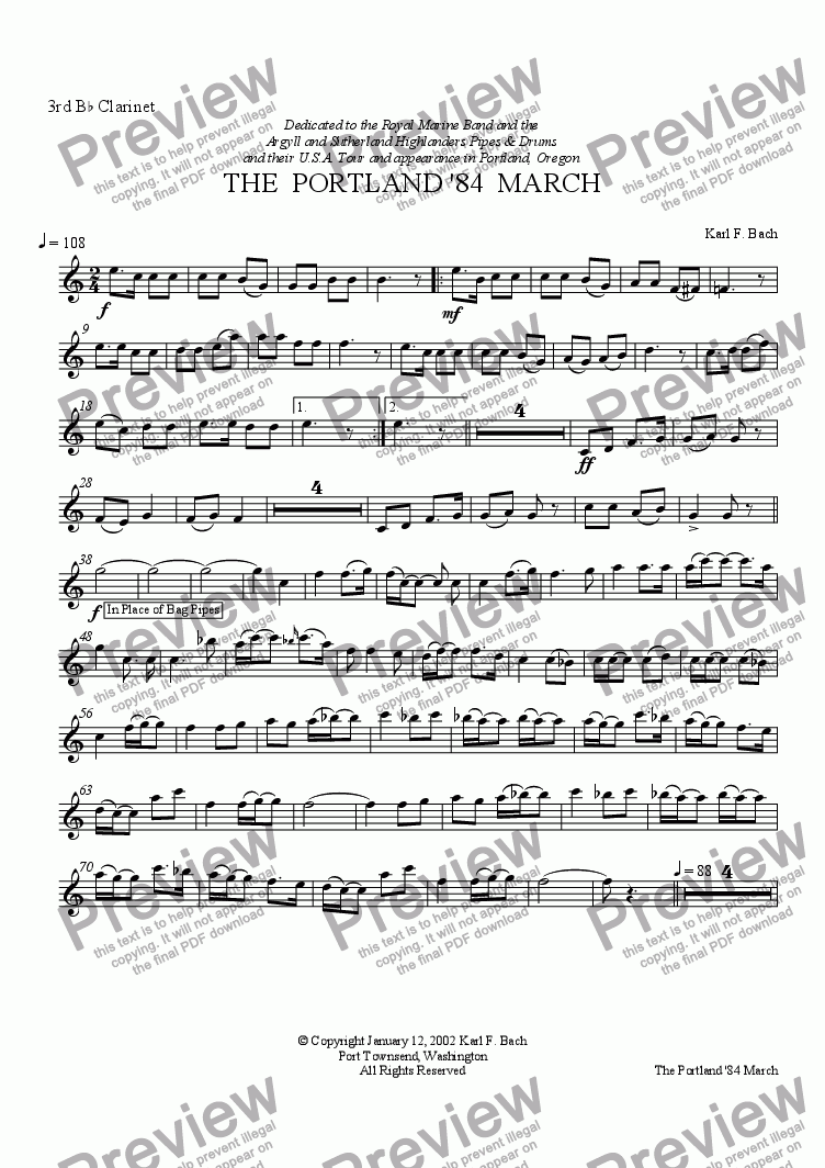 page one of the 3rd B^b Clarinet part from THE  PORTLAND '84  MARCH