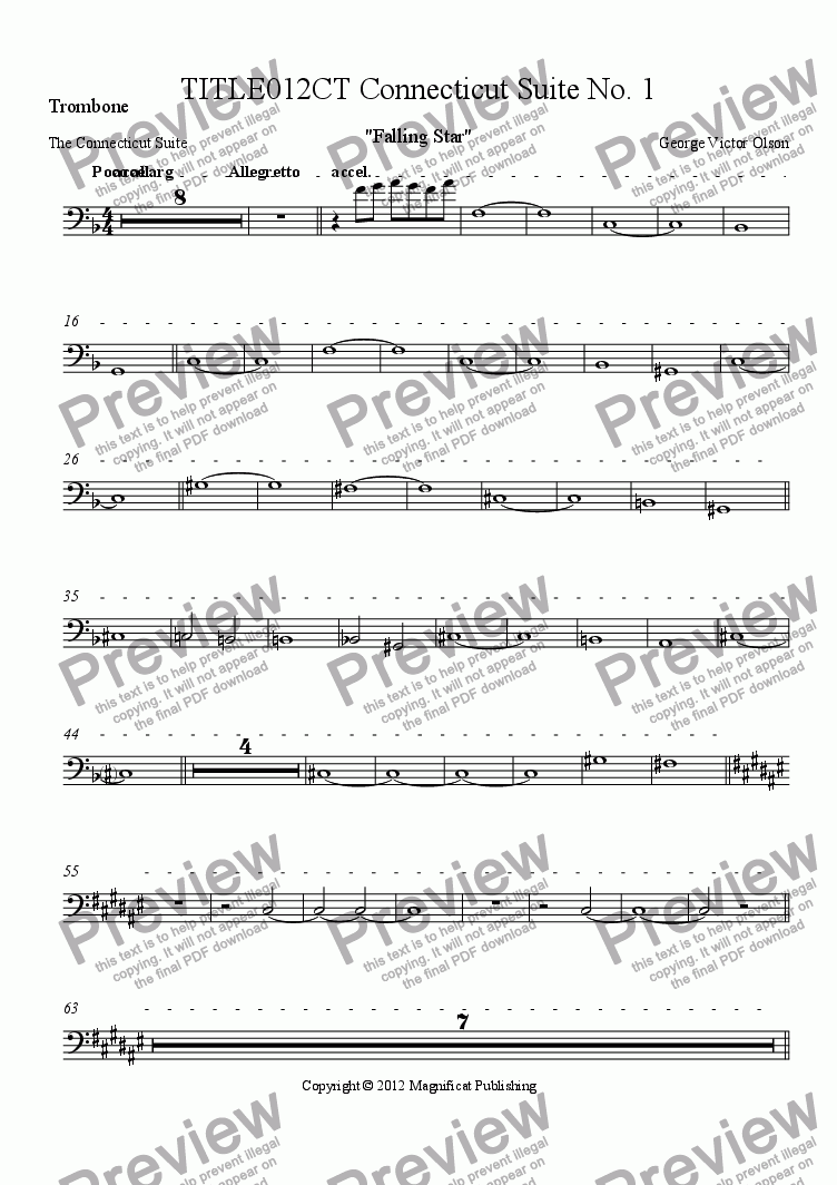 page one of the Trombone part from TITLE012CT Connecticut Suite No. 1 Limited Orchestration