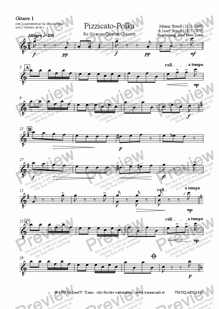 page one of the Gitarre 1 (GQA/GQI) part from Pizzicato-Polka (GQA-GQI/Score & Parts)