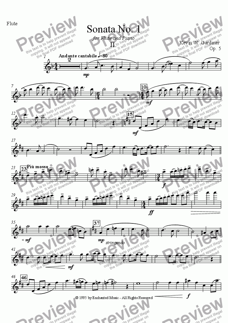page one of the Flute Solo part from Sonata No. 1 for Flute and Piano:  II.  Andante Cantabile